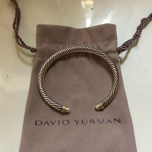 David Yurman cable cuff pearl bracelet